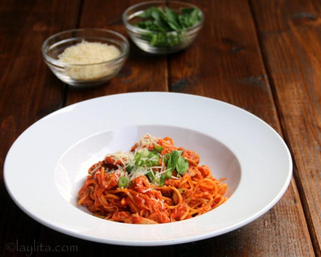 Recette des spaghettis au poulet