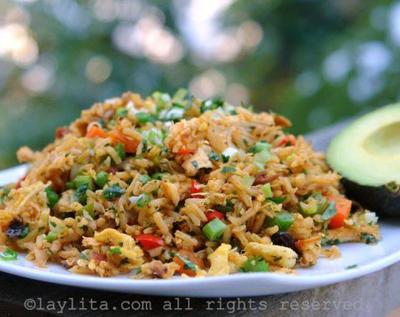 Chaulafan, riz équatorien au poulet frit