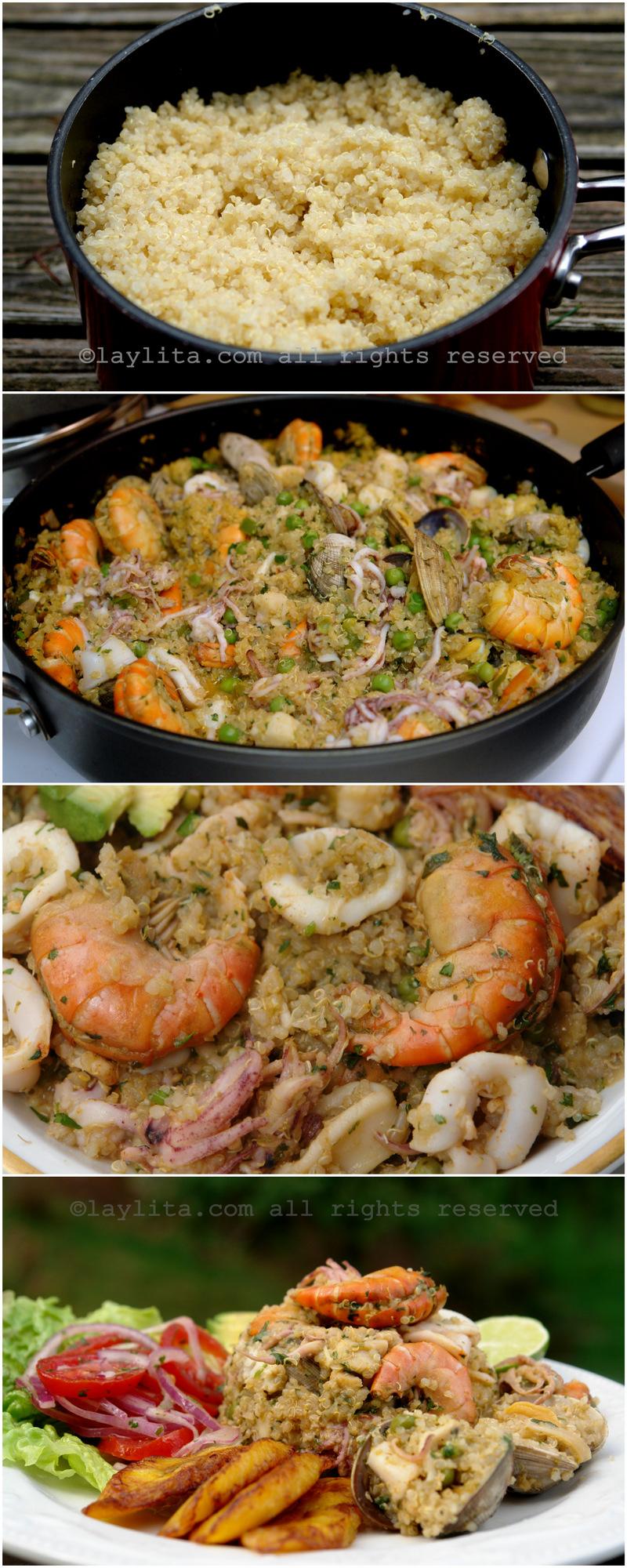 Préparation de la paella au quinoa