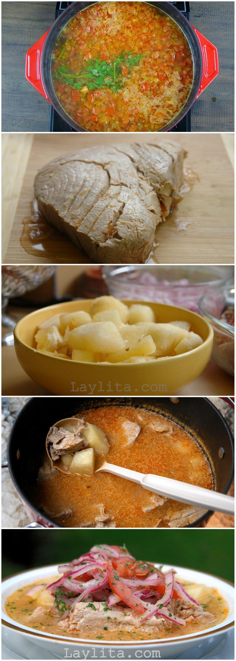 Préparation de la soupe de thon encebollado