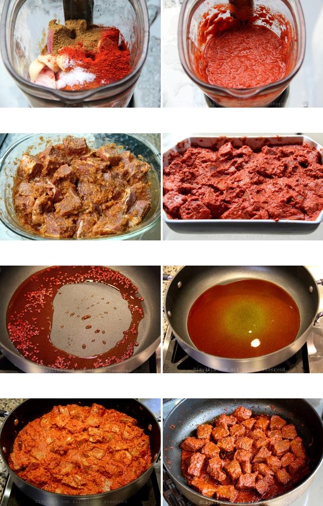 préparation de la viande marinée au roucou