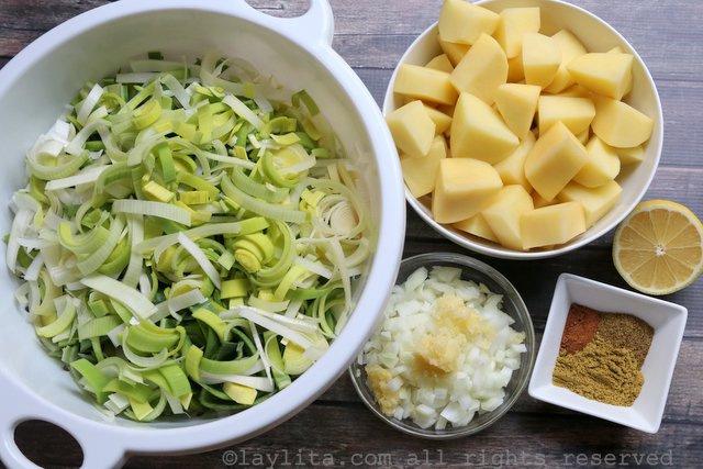 Ingrédients pour la soupe Vichyssoise crème de poireaux