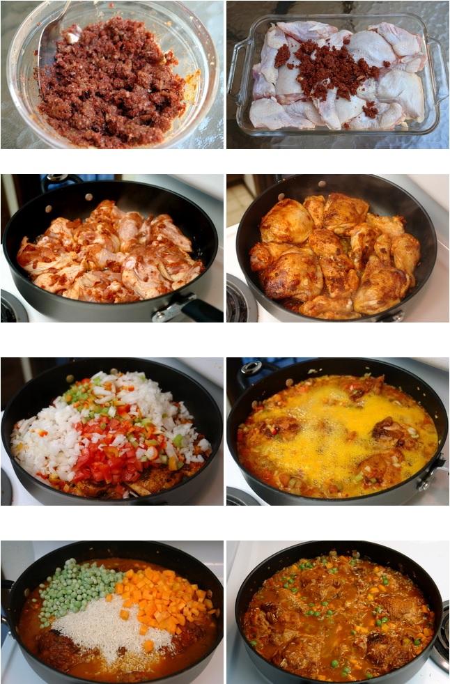 Photos de la préparation du poulet au riz