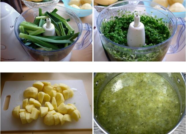 Préparation des poireaux et pommes de terre