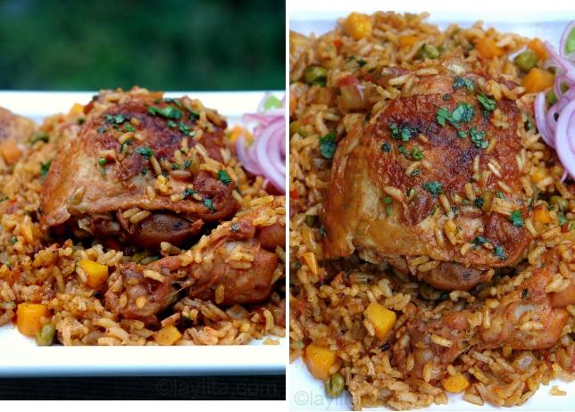 Présentation du poulet au riz ou risotto de poulet