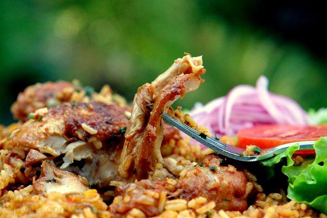 riz au poulet avec fourchette et décor