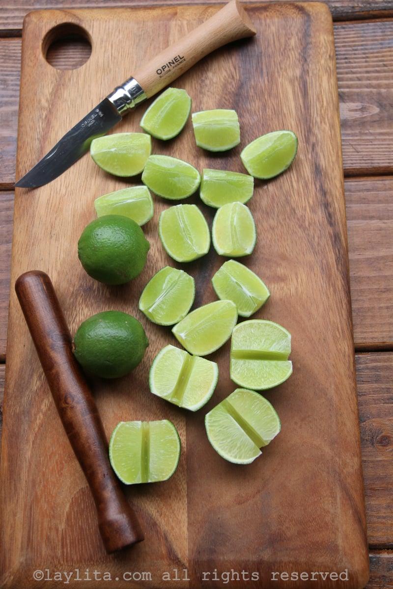 Citrons verts pour préparer la caïpirinha