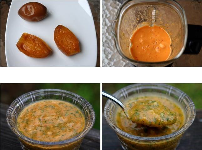 Préparation de la sauce piquante au tamarillo