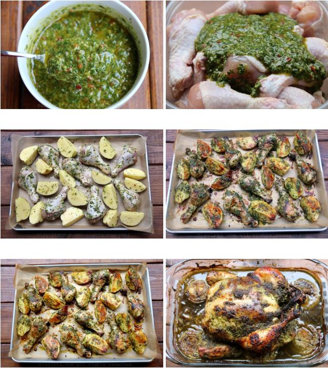 Préparation du poulet en morceaux avec sauce chimichurri