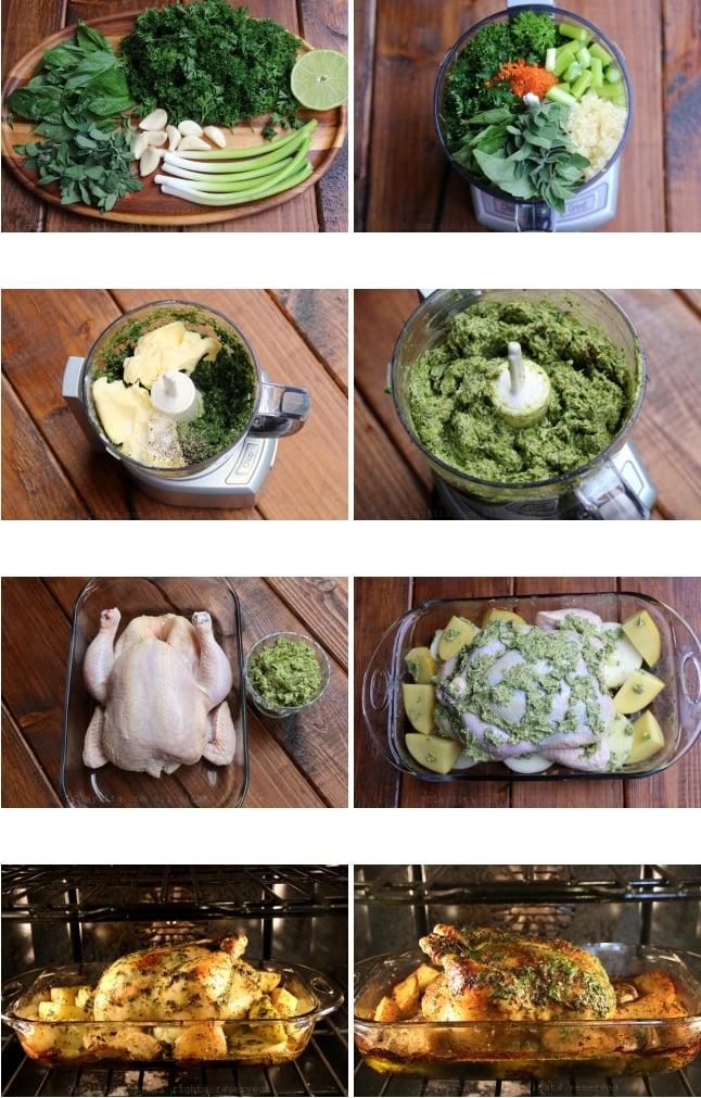 Préparation du poulet rôti avec beurre chimichurri