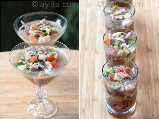 Présentation du ceviche aux huîtres
