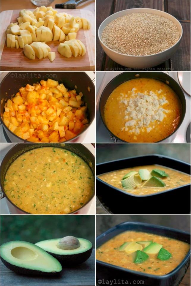 Préparation de la soupe de quinoa et fromage