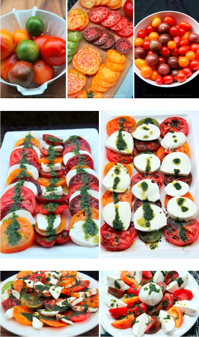 Présentations et décorations salade tomate mozzarella caprese
