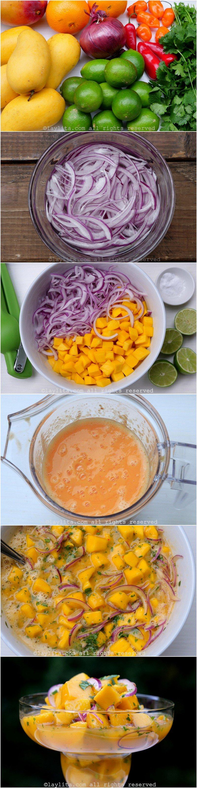Préparation du ceviche de mangues