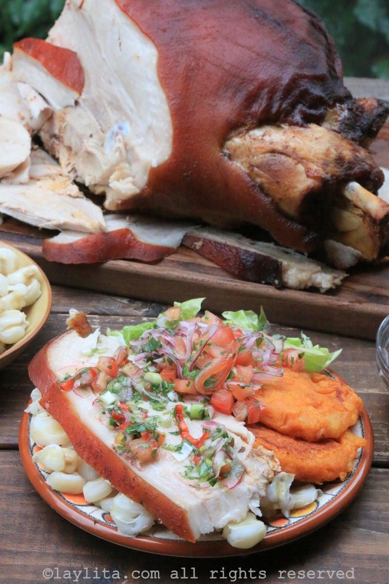 Cuisse de Porc rôti equatorien hornado de chancho