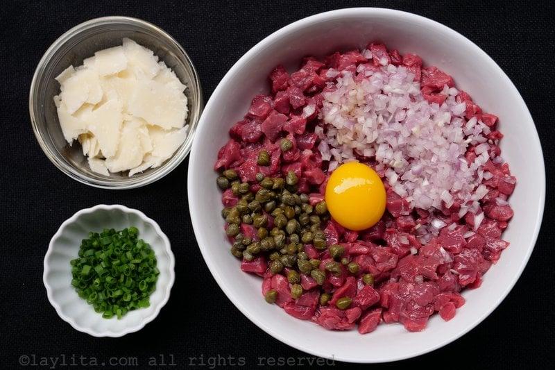 Ingrédients du steak tartare