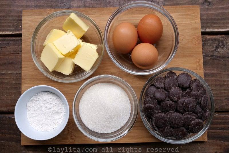 Ingrédients du moelleux fondant au chocolat
