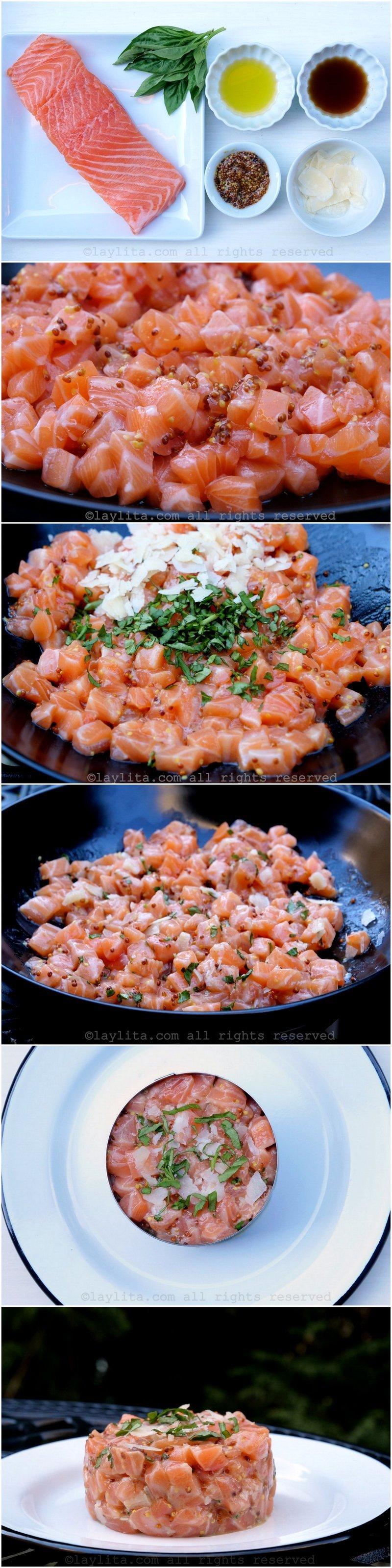 Préparation de la tartare de saumon