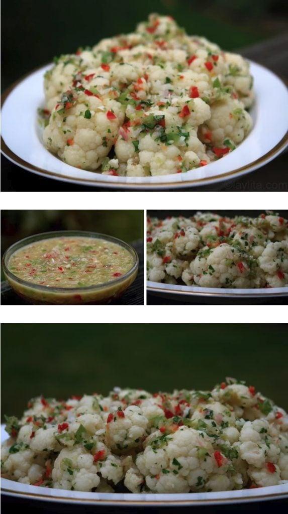 Chou-fleur en salade vinaigrette avec échalotes