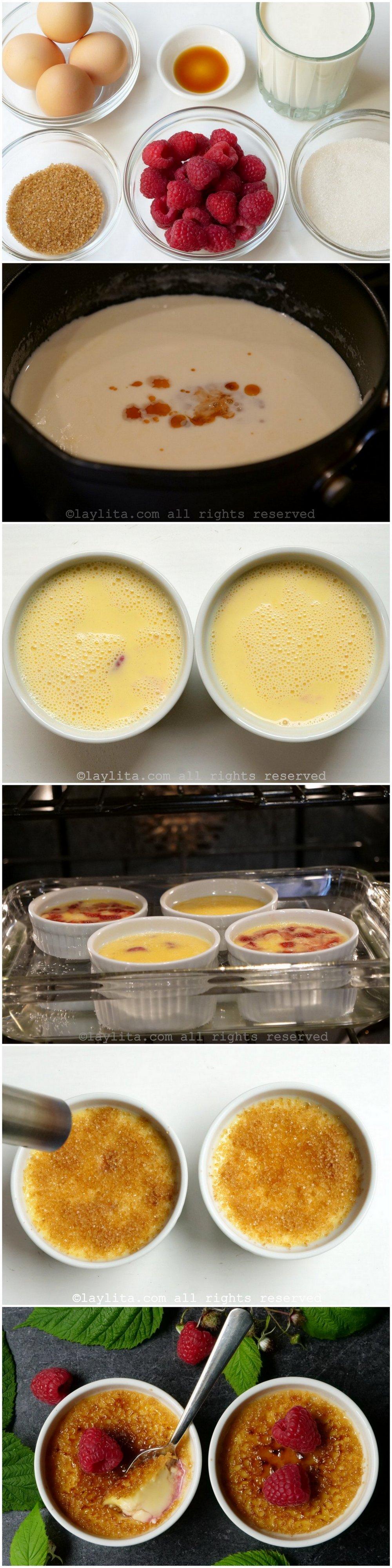 Préparation de la crème brulée aux framboises