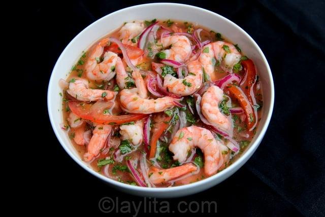 Shrimp ceviche or ceviche de camaron