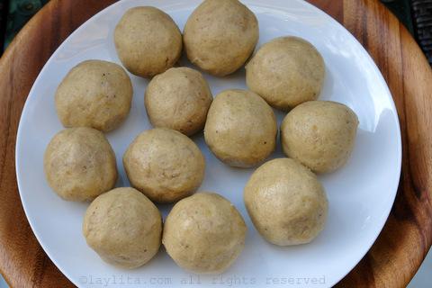 Masa para las empanadas de platano verde