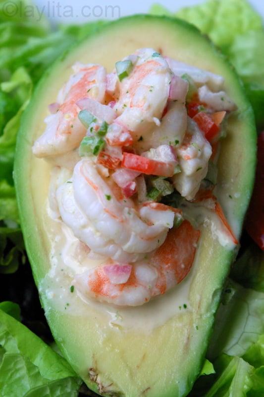 Avocado stuffed with shrimp