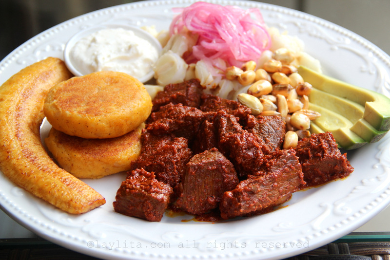 Carne colorada or meat with achiote