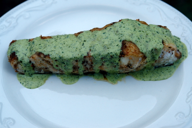 Grilled wild sturgeon recipe with lime cilantro sauce