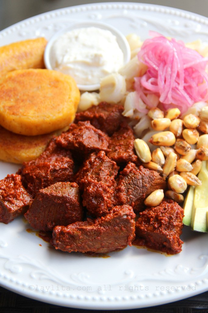 Ecuadorian carne colorada or achiote marinated meat
