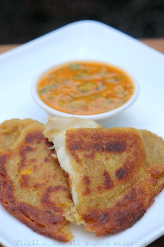 Plantain empanadas with cheese and aji sauce