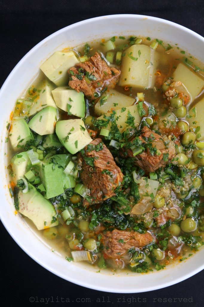 this quinoa soup with beef recipe is a comforting ecuadorian soup