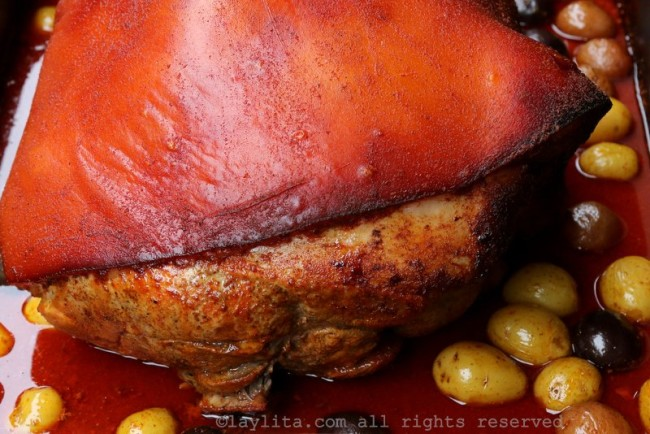 Ecuadorian roasted pork leg or hornado de chancho ecuatoriano