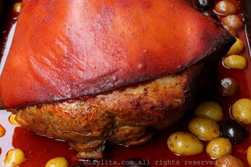 Roasted pork leg or hornado de chancho ecuatoriano