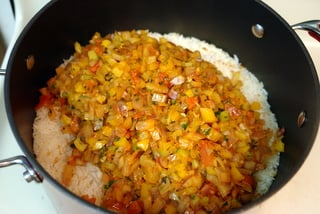 Arroz con camarones or shrimp rice preparation