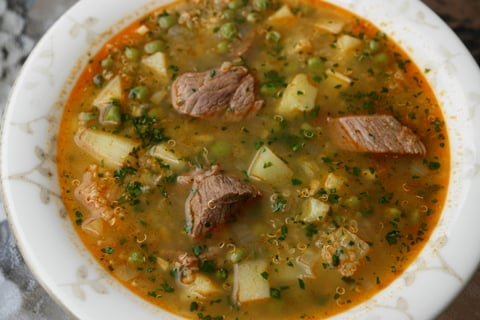 Quinoa soup or sopa de quinoa