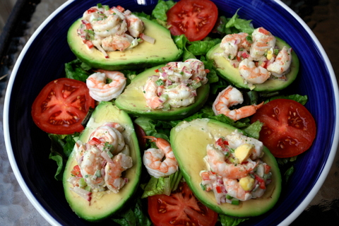 Shrimp stuffed avocado salad - Laylita's Recipes