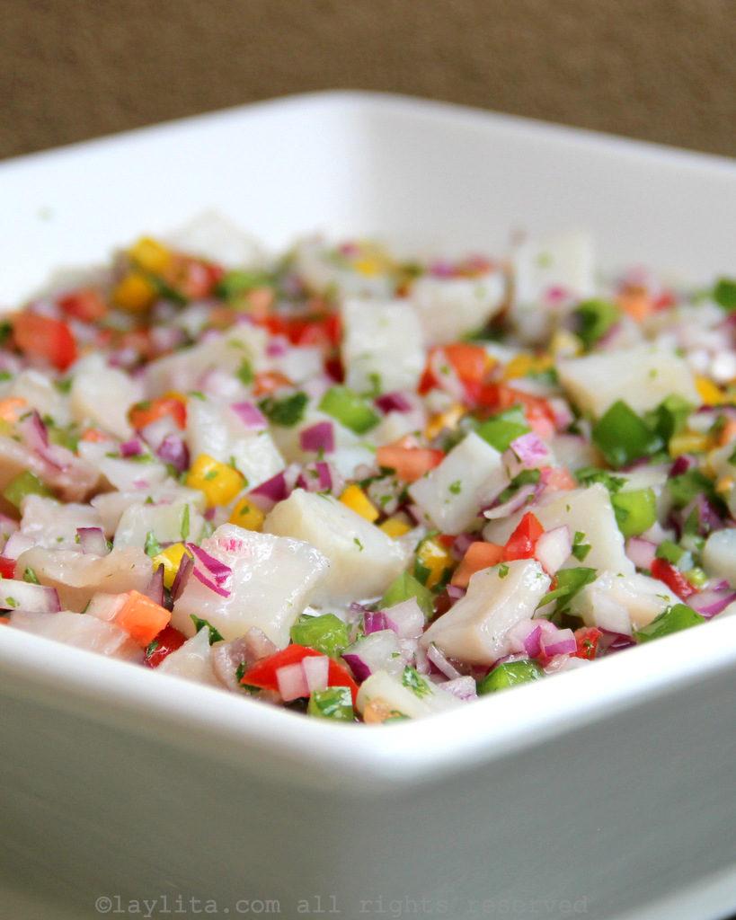 Ecuadorian fish ceviche or ceviche de pescado ecuatoriano