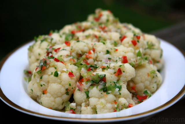 Cauliflower salad with spicy vinaigrette