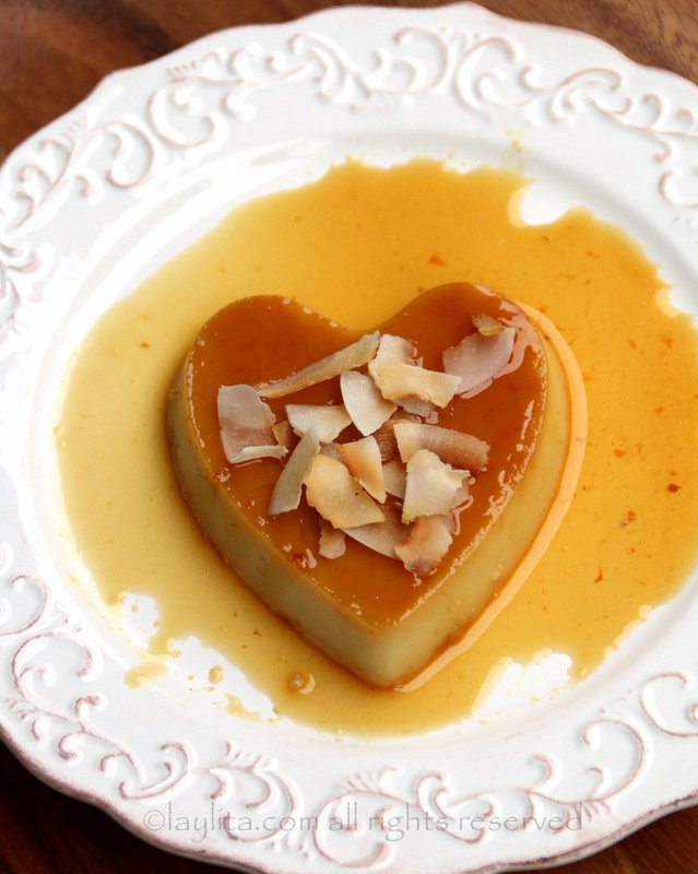 Coconut flan hearts for Valentine's Day dessert