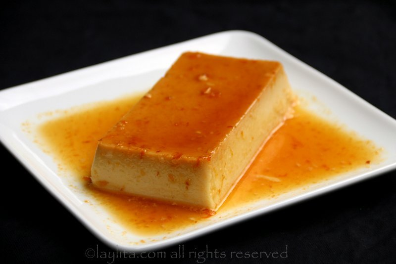 Coconut flan with orange caramel
