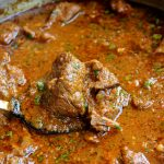 Ecuadorian goat stew in beer sauce