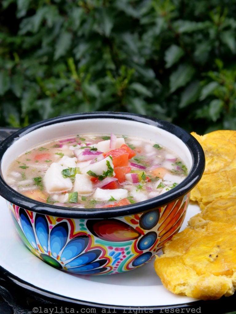 Ecuadorian ceviche recipe with fish, lime juice, onions, tomato, cilantro