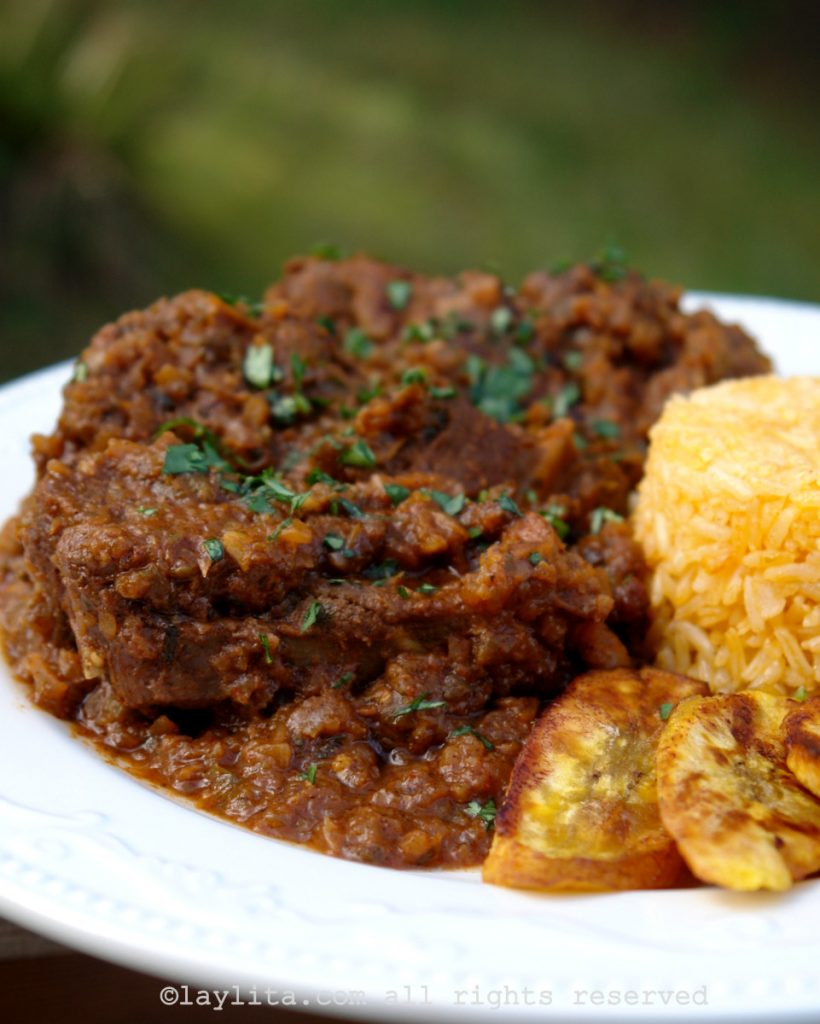 Ecuadorian seco de chivo or goat stew