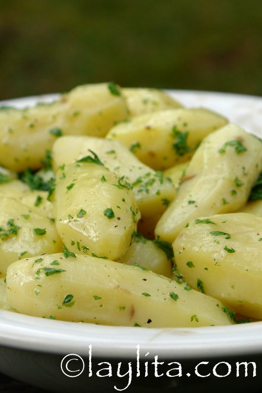 Fingerling potatoes tossed with butter and fresh parsley
