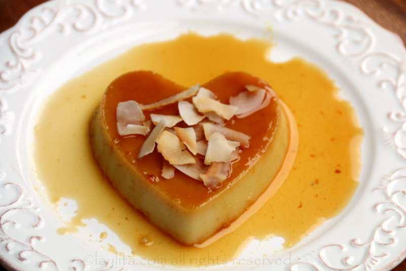 Heart shaped coconut flan for Valentine's day