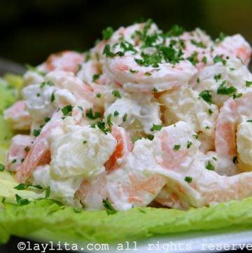 Potato salad with shrimp - Ecuadorian recipe