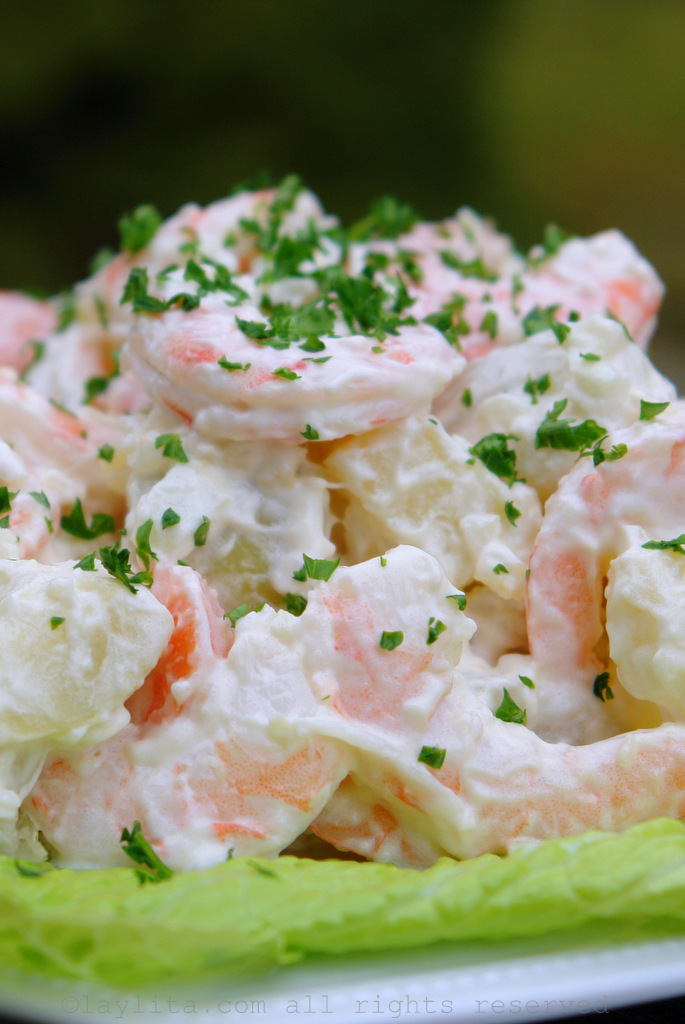 Potato salad with shrimp