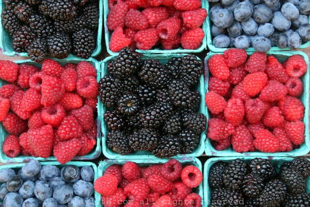 Raspberries, blackberries and blueberries
