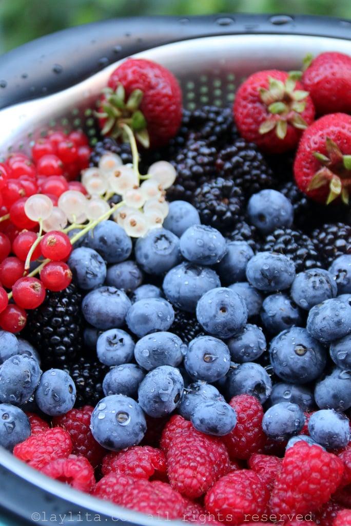 Raspberries, blueberries, blackberries, currants and strawberries
